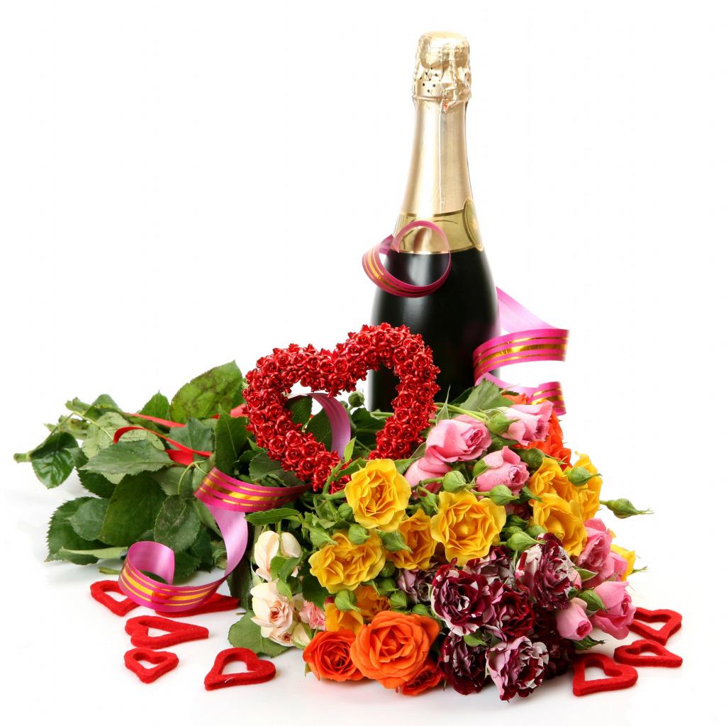 картинки бутылки шампанского с цветами набиваются три слоя