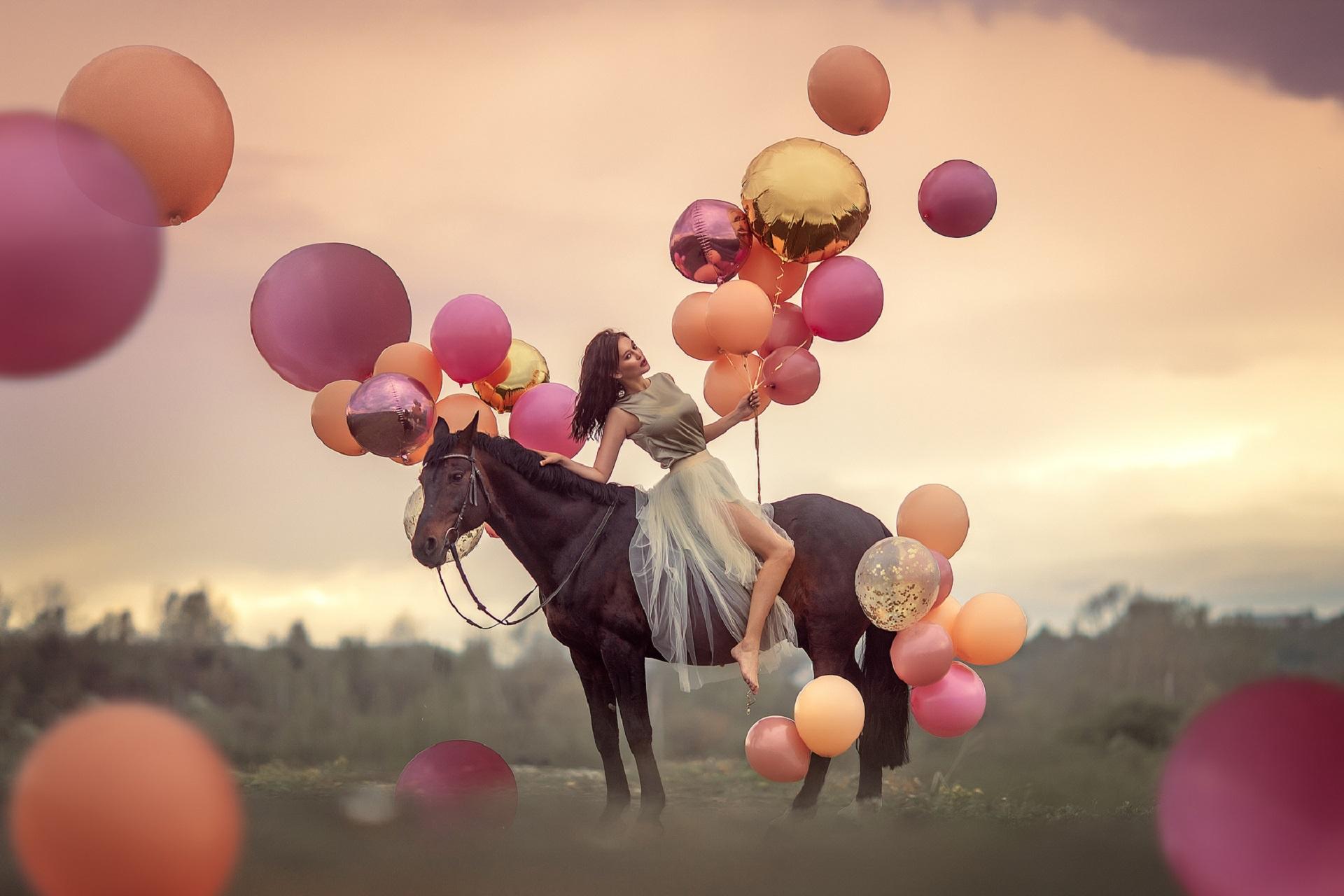 Картинки воздушные шары и девочка