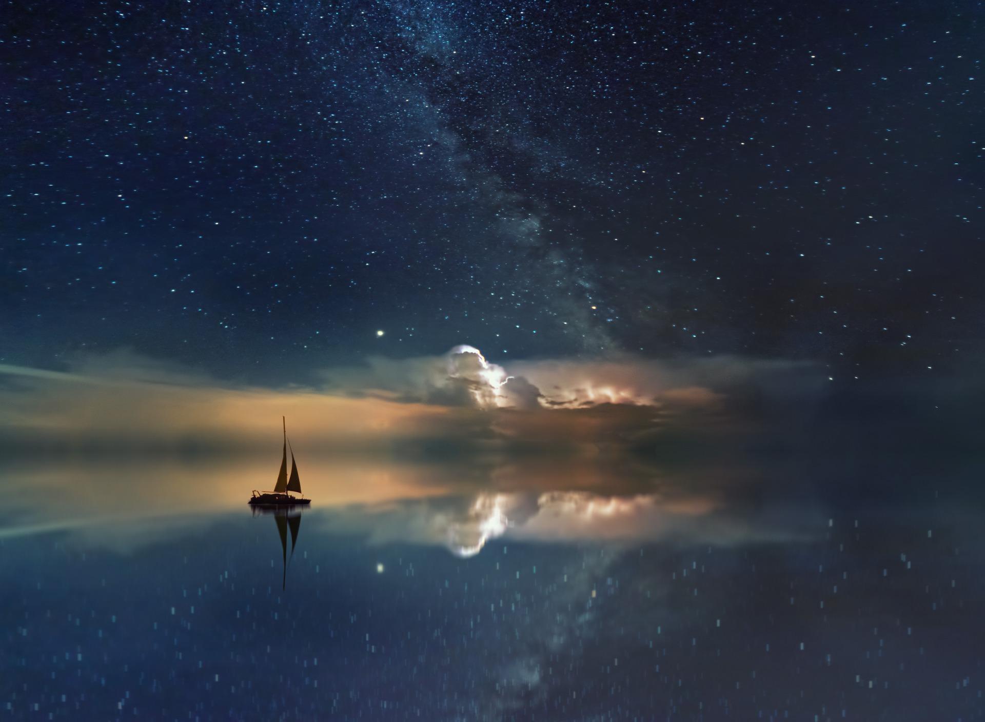 лесу открытки ночное небо приводит
