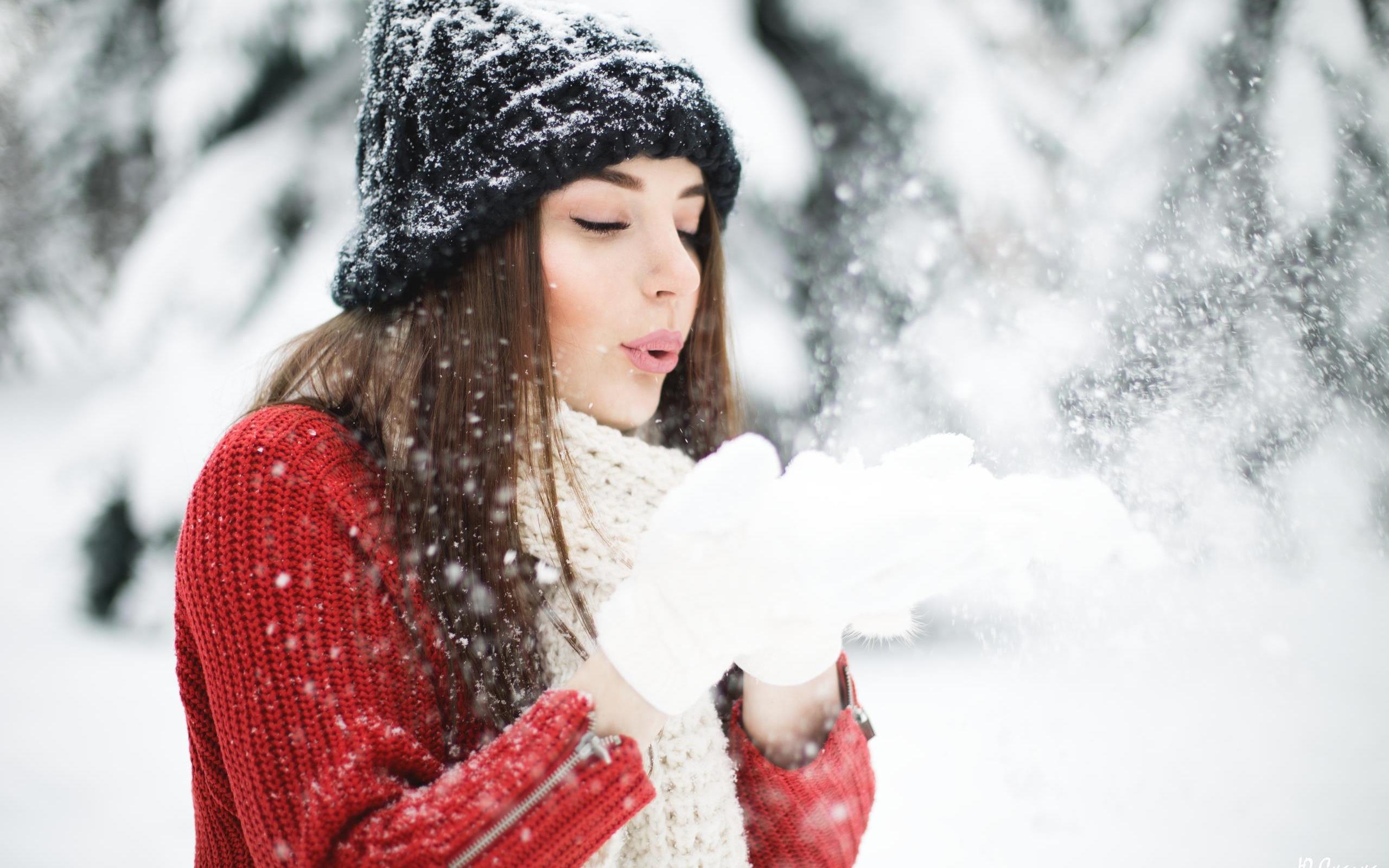 Картинки красивые девушка с снегу