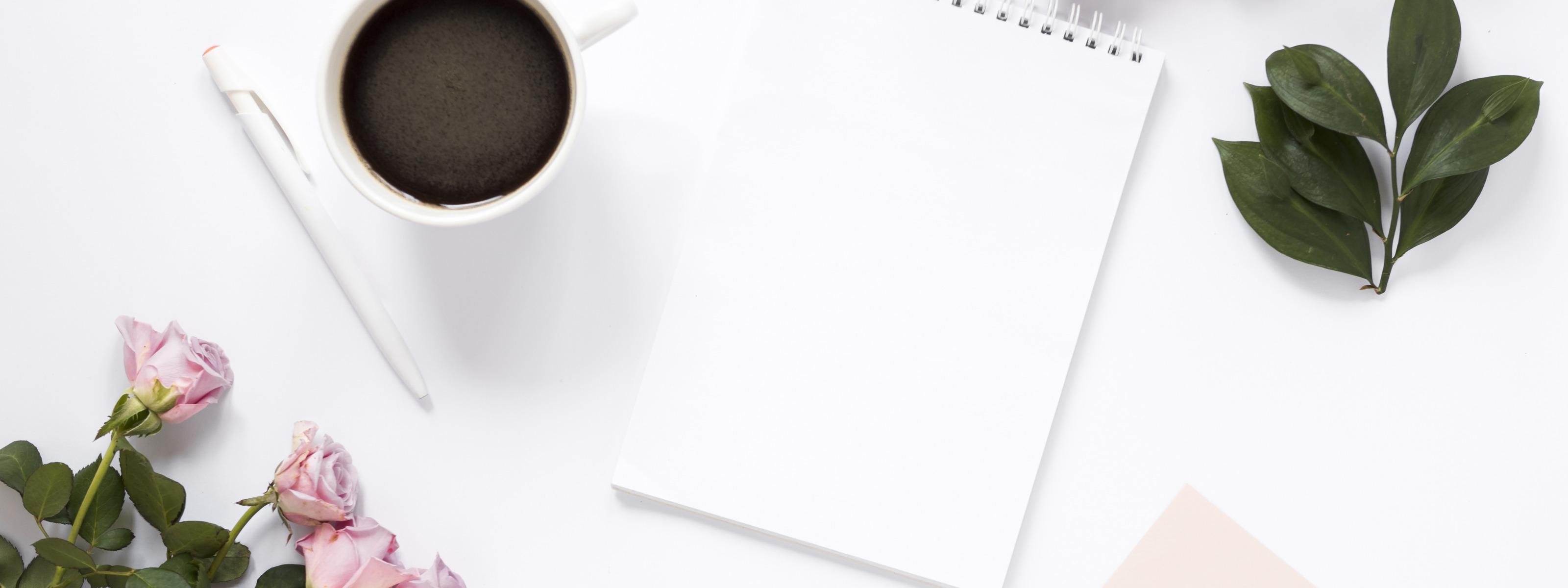 Картинка кофе цветы и блокнот