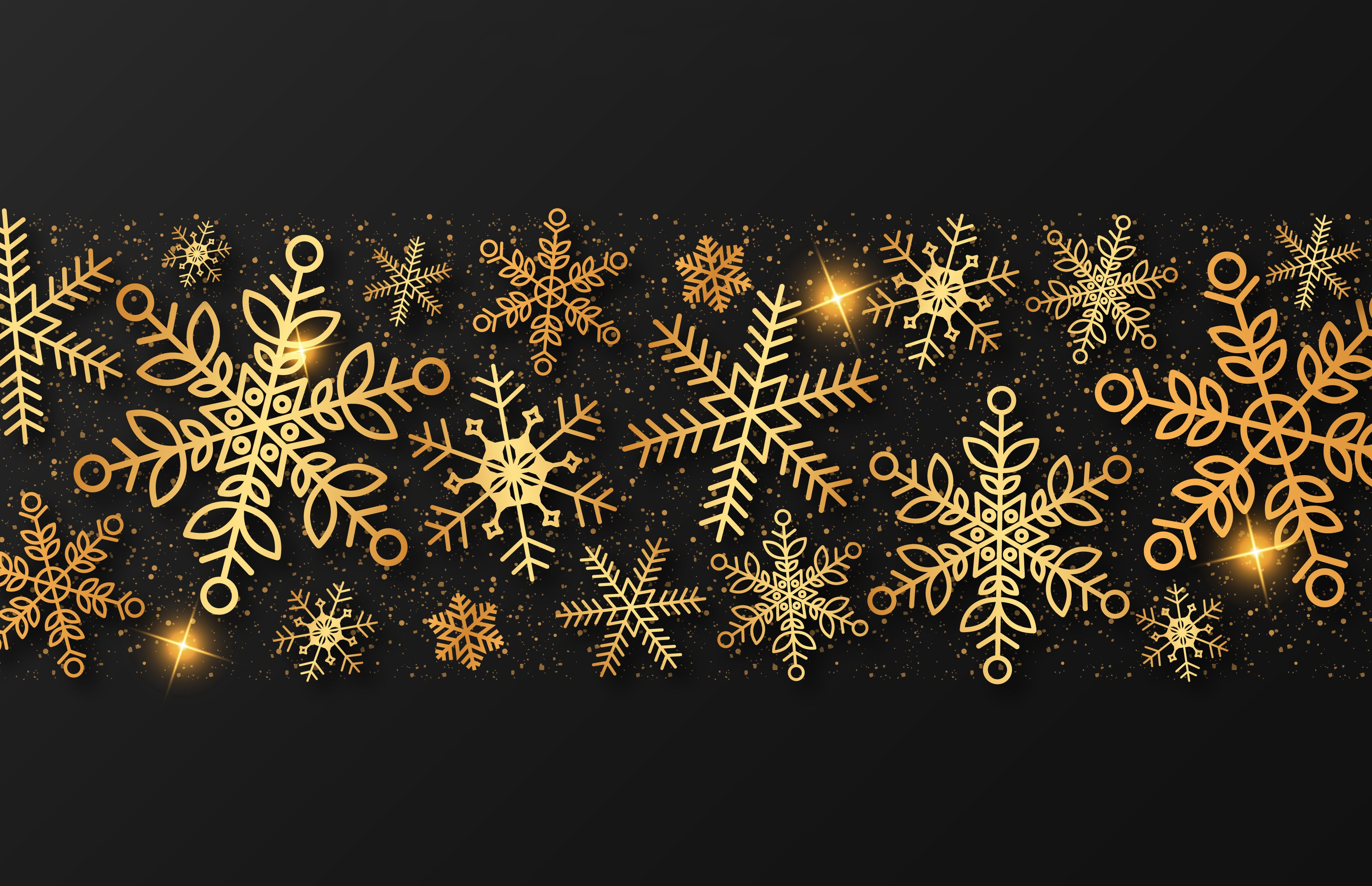 Снег новый год картинки в черно золотых тонах