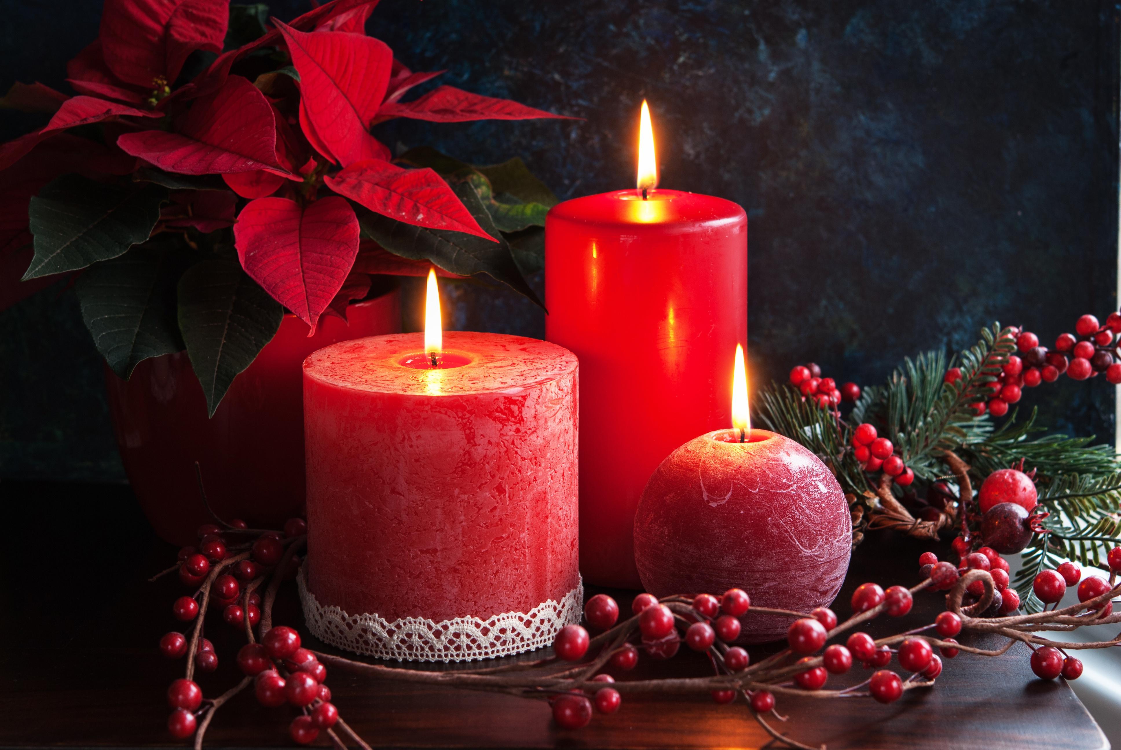 Открытка с рождеством свечи