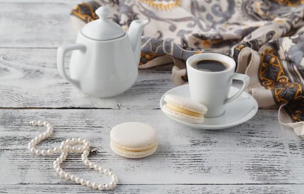 Картинка кофе, чайник, печенье, чашка, бусы, платок