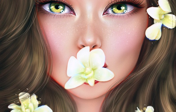 Картинка глаза, взгляд, девушка, цветы, Ainash Kassenova