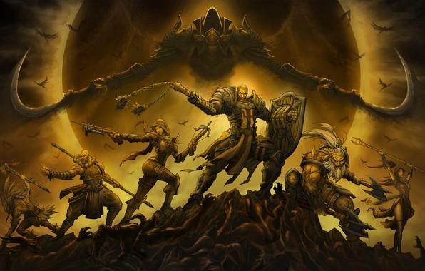 Картинка Игра, Ангел, Стиль, Битва, Blizzard, Арт, Art, Style, Фантастика, Колдун, Fiction, Diablo III, Diablo, Монах, …
