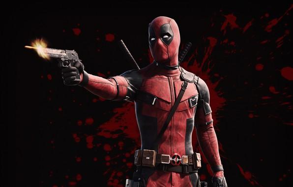 Картинка пистолет, оружие, фон, фантастика, кровь, выстрел, пуля, маска, костюм, Райан Рейнольдс, Ryan Reynolds, Deadpool, Дэдпул, …