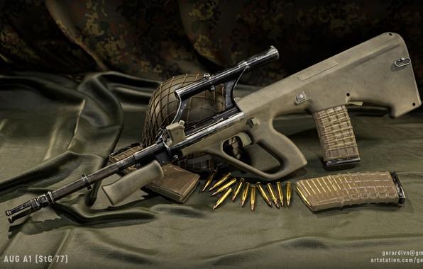 Картинка рендеринг, оружие, автомат, винтовка, weapon, render, custom, рендер, 3d art, AUG, assault rifle, assault Rifle, …