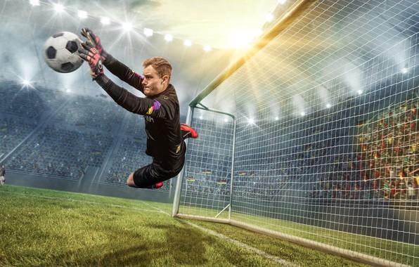 Картинка фото, Мяч, Спорт, Прыжок, Футбол, Мужчина, Вратарь