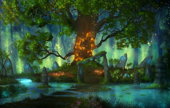 Картинка вода, птицы, природа, lights, камни, красота, огоньки, волшебный мир, nature, water, руны, birds, beauty, stones, …