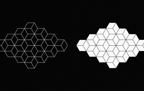 Картинка белый, абстракция, черный, фигура, white, геометрия, black, монохром, monochrome, figure, geometry