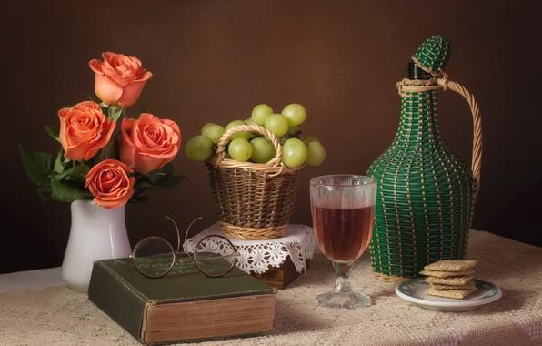 Картинка вино, розы, очки, виноград, книга
