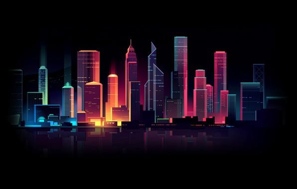 Картинка Дома, Минимализм, Ночь, Вектор, Город, Свет, Стиль, Здания, Архитектура, Арт, Style, Neon, Освещение, Illustration, Retrowave, …