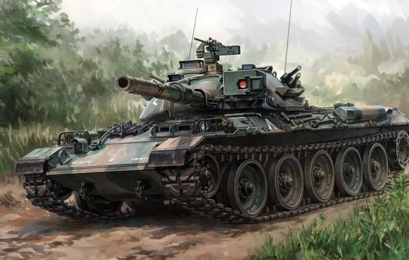 Картинка Мицубиси, Тип 74, Mitsubishi Heavy Industries, японский основной боевой танк 1970-х годов