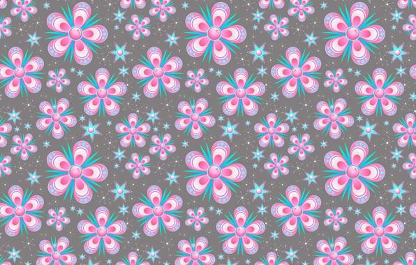 Картинка цветы, снежинки, фон, графика, текстура, звёздочки, digital art