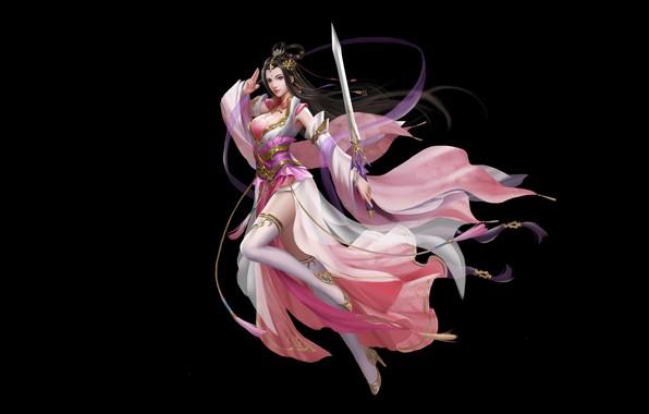 Картинка Girl, Fantasy, Art, Asian, Background, Illustration, Minimalism, Chinese, Sword, Dress, CTRL+T STUDIO