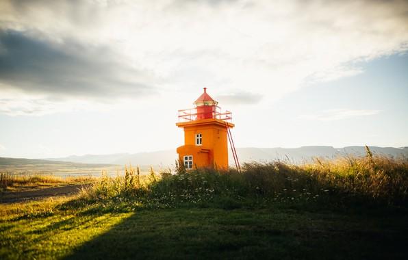 Картинка берег, маяк, утро
