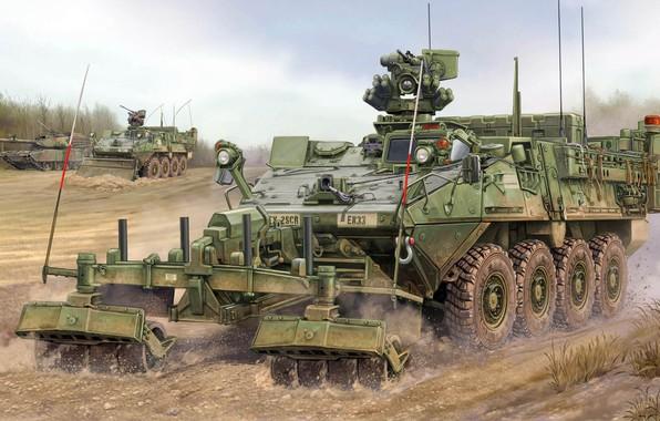 Картинка бронетранспортёр, Stryker, ESV, армейская боевая машина, Engineer Support Vehicle, инженерная машина разграждения, Engineer Squad Vehicle, …