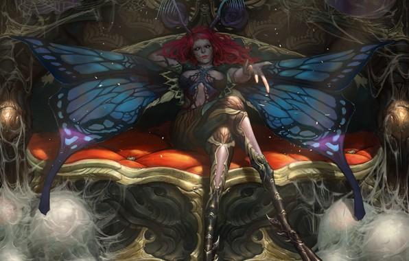 Картинка girl, fantasy, magic, wings, redhead, artwork, fantasy art, creature, sitting, couch, Butterfly, fantasy girl