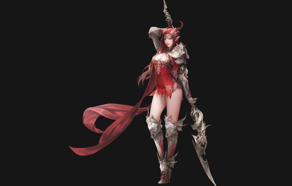Картинка девушка, оружие, рога, копьё, острые уши, league of angels
