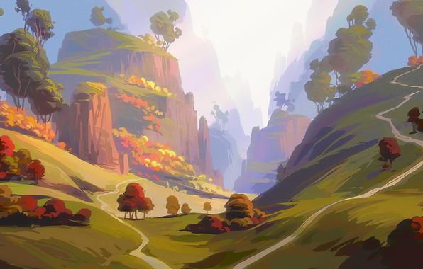 Картинка grass, Nature, sky, trees, landscape, art, mountains, clouds, hills, digital art, artwork, environment, meadow, path, …