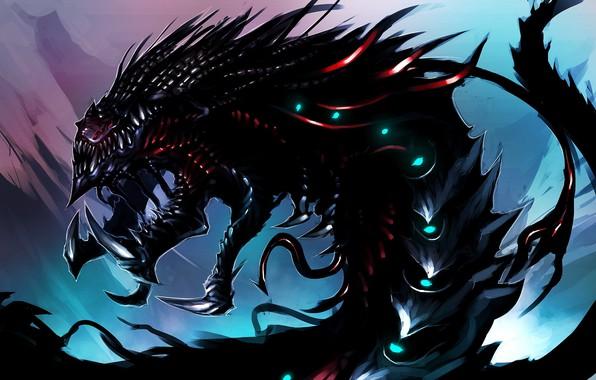 Картинка иглы, чудовище, monster, рык, fantasy art, roar, светящиеся глаза, needles, glowing eyes, фэнтези арт, острые …