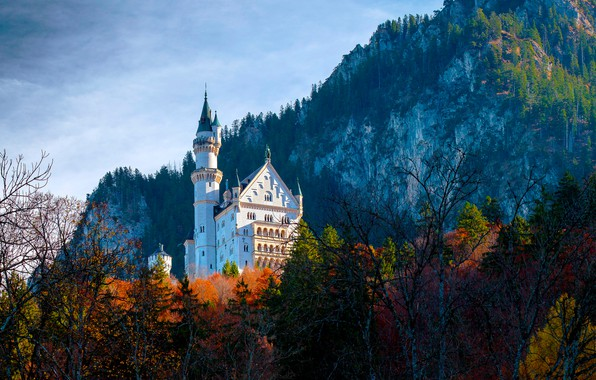 Картинка осень, лес, деревья, горы, замок, скалы, Германия, Бавария, Germany, Bavaria, Neuschwanstein Castle, Замок Нойшванштайн, Schwangau, …