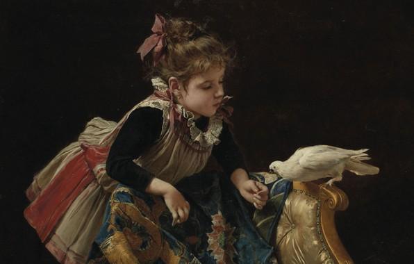 Картинка итальянский живописец, Italian painter, Роберто Фонтана, Jeune fille à la colombe, Девочка с голубем, Roberto …