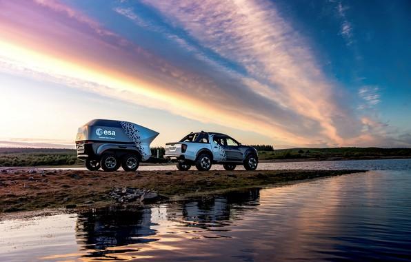 Картинка вода, закат, берег, Nissan, пикап, прицеп, 2018, Navara, Dark Sky Concept