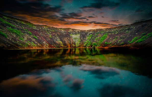 Картинка небо, звезды, горы, отражение, вечер, сумерки, Исландия, водоем