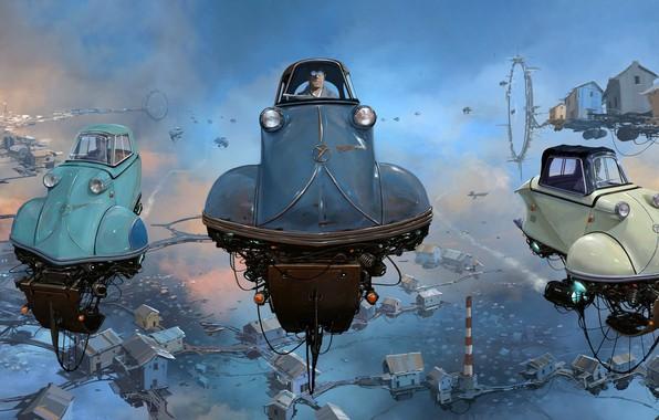 Картинка Небо, Авто, Рисунок, Машина, Мир, Car, Sky, Автомобиль, Арт, Art, Auto, Фантастика, Machine, Fiction, Дизель, …