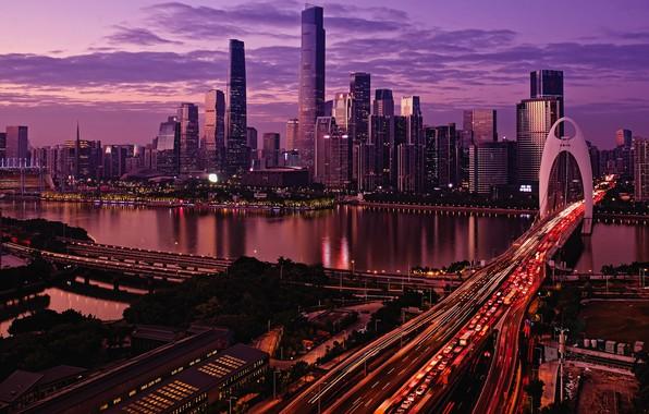 Картинка city, lights, China, twilight, river, sky, cars, bridge, sunset, water, clouds, evening, buildings, architecture, skyscrapers, …