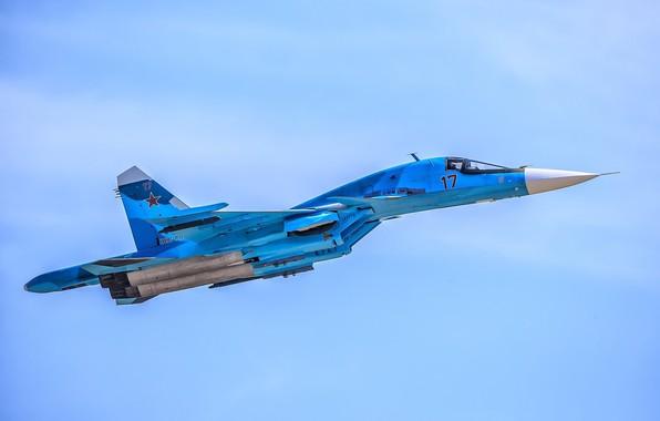 Картинка полёт, утёнок, истребитель-бомбардировщик, СУ-34, сверхзвуковой, многофункциональный, ВКС России, поколение 4++, изделие «Т-10В»