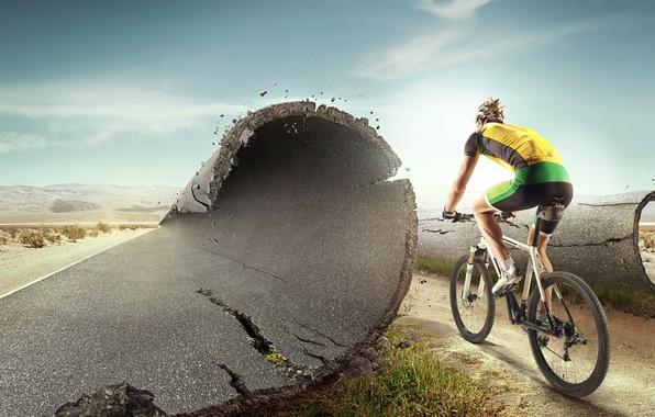 Картинка дорога, асфальт, пейзаж, велосипед, пустыня, шорты, шоссе, футболка, перчатки, шлем, спортсмен, велосипедист, униформа, кроссовки