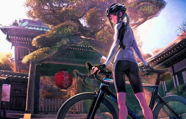 Картинка велосипед, улица, Япония, фонарь, храм, шлем, школьница, спортивная одежда, митенки, вполоборота, Minami Kamakura Koukou Joshi …