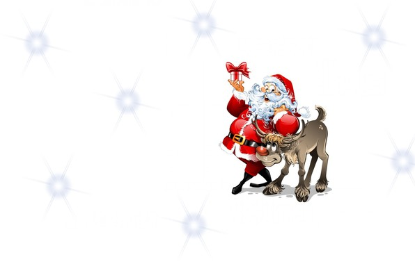 Картинка настроение, праздник, подарок, минимализм, олень, арт, Санта, детская