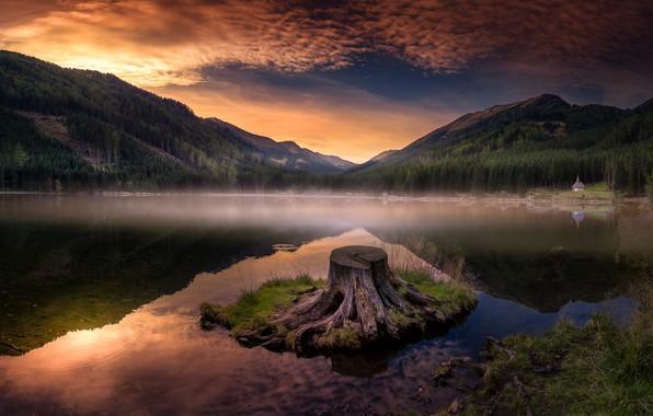 Картинка облака, горы, берег, пень, вечер, водоем