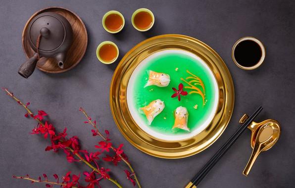 Картинка ветки, чай, палочки, чайник, суп, китайская кухня