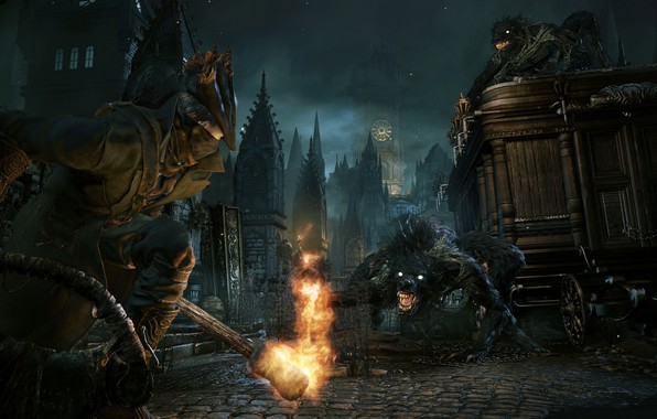 Картинка огонь, монстр, охотник, Bloodborne