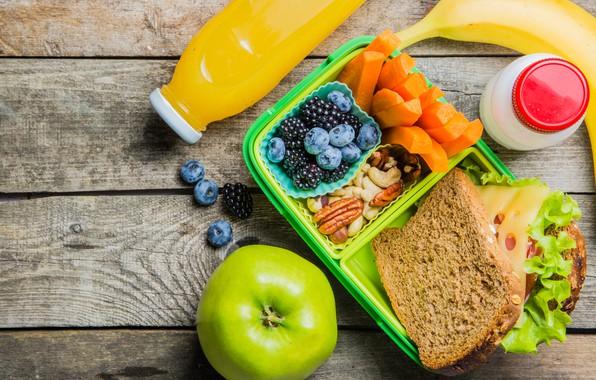 Картинка ягоды, яблоко, сок, хлеб, фрукты, орехи, банан, морковь, сэндвич