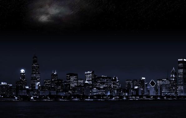 Картинка ночной город, dual monitor, тёмный фон