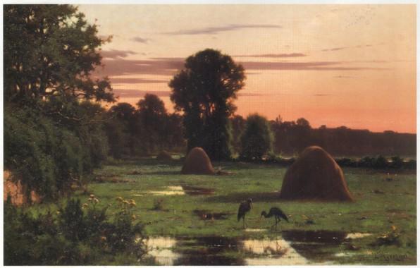 Картинка деревья, природа, луга, цапли, стога сена