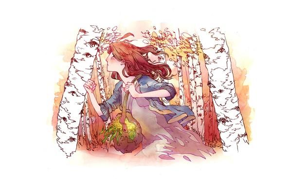 Картинка ветер, рыжая, сумка, бежит, трава зелень, убегает, в профиль, березовая роща