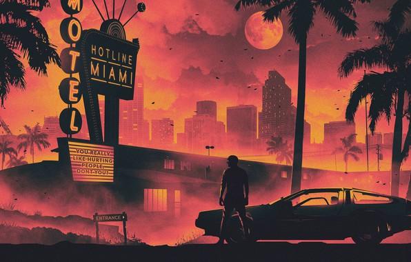 Картинка Солнце, Город, Игра, Луна, Человек, Машина, Звезда, Пальмы, Фон, Молнии, DeLorean DMC-12, Мужчина, Miami, Отель, ...