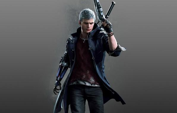 Картинка игра, протез, персонаж, Game, Capcom, Nero, Devil may cry 5, седые волосы, Devil May Cry …