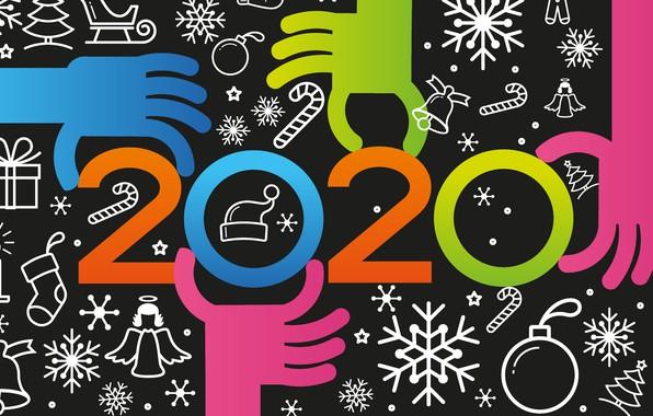 Картинка снежинки, руки, цифры, Новый год, Christmas, New Year, декор, 2020