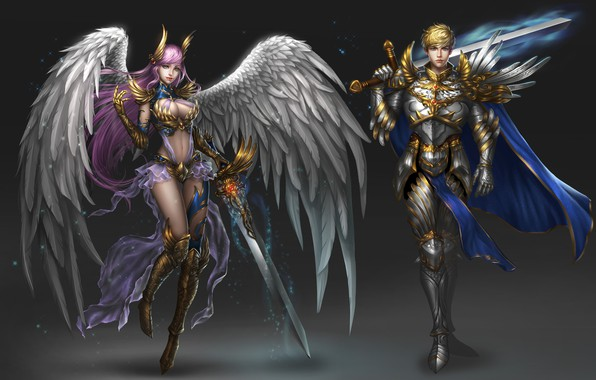 Картинка Girl, Fantasy, Art, Style, Warrior, Angel, Background, Minimalism, Man, Wings, Swords, Character, Rena Illusion