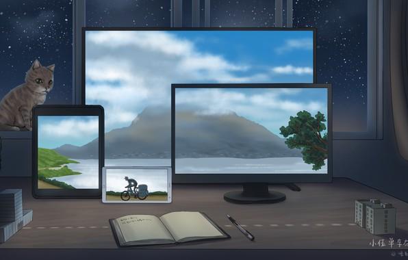 Картинка животные, компьютер, рисунки, предметы