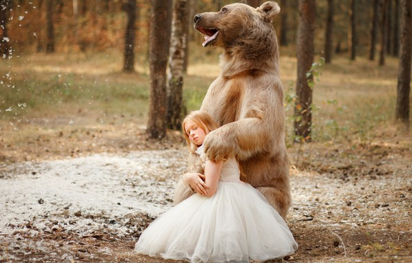 Картинка лес, поза, платье, медведь, девочка, топтыгин, Светлана Никотина