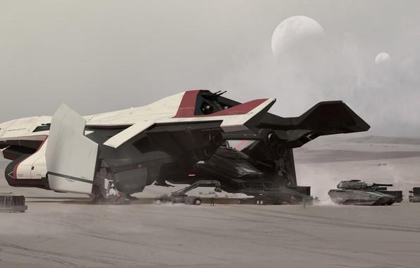 Картинка Самолет, Луна, Танк, Art, Спутник, Game, Транспорт, Spaceship, Star Citizen, Реактивный самолет, Crusader, Science Fiction, …